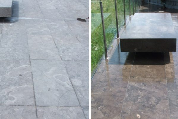 Bluestone Before And After Being Sealed And Enhanced